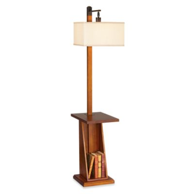 Pacific Coast Lighting Astor Place Floor Lamp with Tray and Shelf in Walnut
