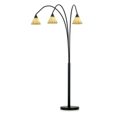 Pacific Coast Lighting® Archway 3-Light Floor Lamp in Bronze with Tiffany-Style Glass Shades