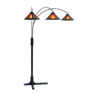 NOVA Lighting Mica 80-Inch Dark Brown Wood Three-Light Arc Floor Lamp