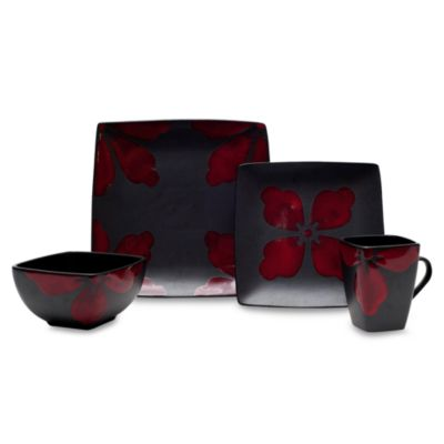 Baum Kasbar Tile 16-Piece Dinnerware Set in Red