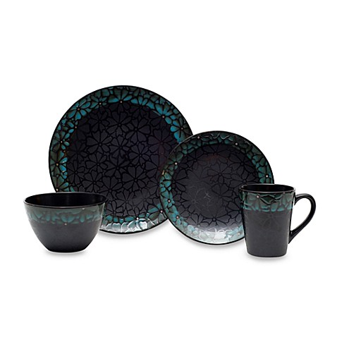 Floral Impressions Teal 16-Piece Dinnerware Set