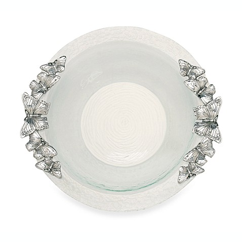 Arthur Court Designs Butterfly Glass Salad Bowl