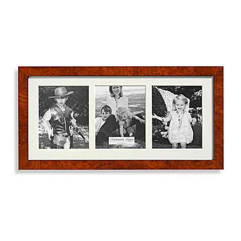 Addison Ross Poplar Wood Veneer 3-Aperture 4-Inch x 5 1/2-Inch Photo Frame