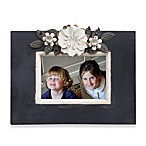 5-Inch x 3 1/2-Inch Black Picture Frame with Cream Metal Flowers