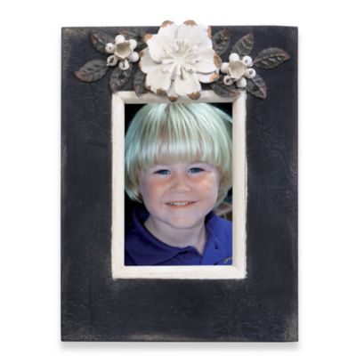 3 1/2-Inch x 5-Inch Black Frame with Cream Metal Flowers