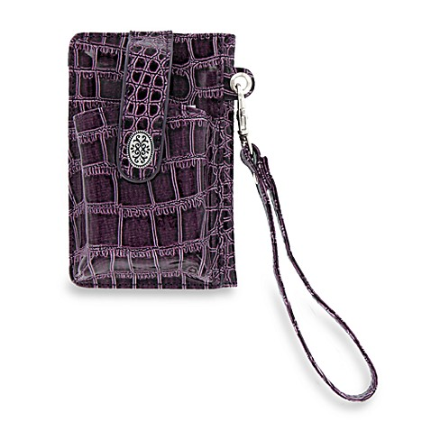 Grab-and-Go Crocodile Purple Wristlet