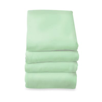 Foundations® SafeFit™ Compact/Portable-Size Elastic Fitted Safety Sheets in Mint (6-Pack)