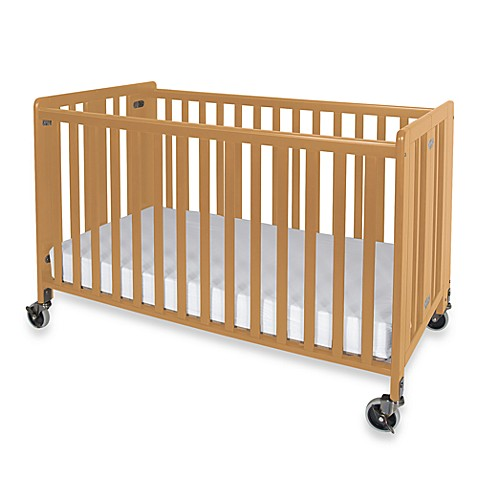Foundations® HideAway™ Easy Roll Folding Fixed Side Full-Size Crib in Natural