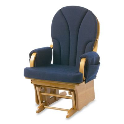 Foundations® Lullaby™ Adult Glider Rocker in Natural/Navy Blue