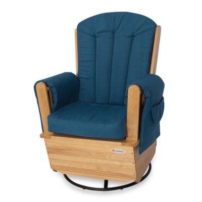 Baby Furniture > Foundations® SafeRocker™ SS Swivel Glider in Natural/Blue