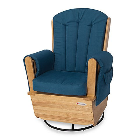 Foundations® SafeRocker™ SS Swivel Glider in Natural/Blue