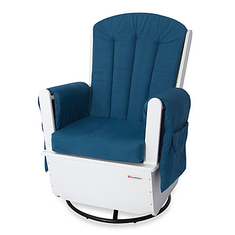 Foundations® SafeRocker™ SS Swivel Glider in White/Blue