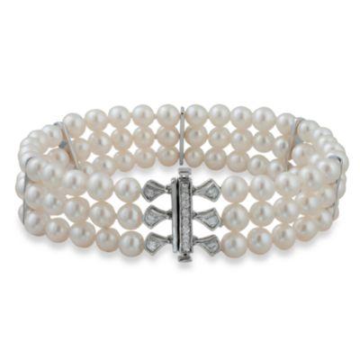 Badgley Mischka® Modern Deco 3-Row Pearl Bracelet