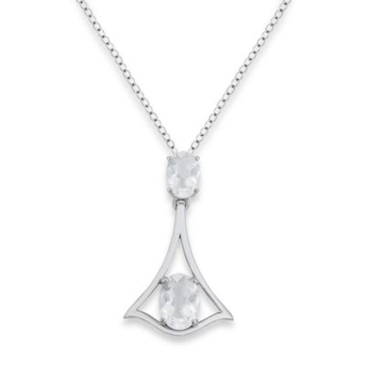 Badgley Mischka® Petal Perfect White Topaz Graduated Oval Pendant & Sterling Silver Chain