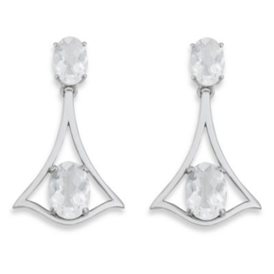 Badgley Mischka® Petal Perfect White Topaz & Sterling Silver Graduated Oval Earrings