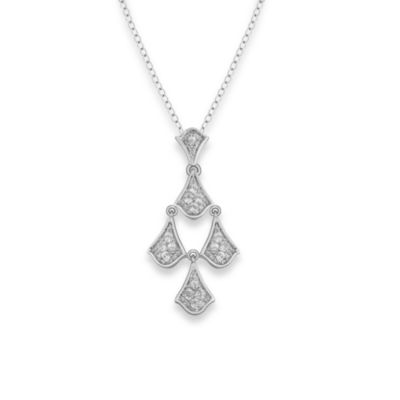 Badgley Mischka® Petal Perfect White Topaz Pendant w/Chain in Sterling Silver