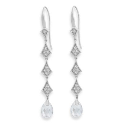 Badgley Mischka® The Romantics Sterling Silver White Topaz & White Quartz Earrings