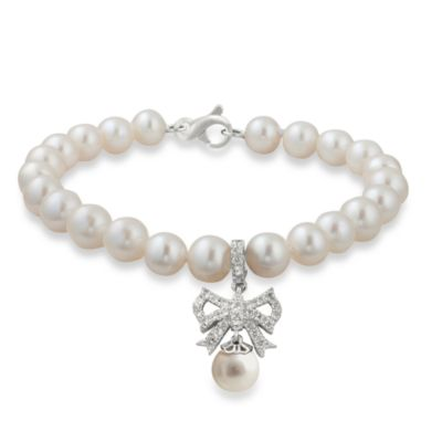 Badgley Mischka® Soft & Sophisticated Sterling Silver& Pearl Bracelet