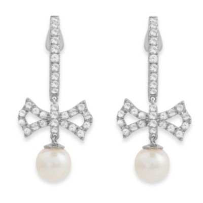 Badgley Mischka® Soft & Sophisticated White Topaz & Sterling Silver Bow Earrings