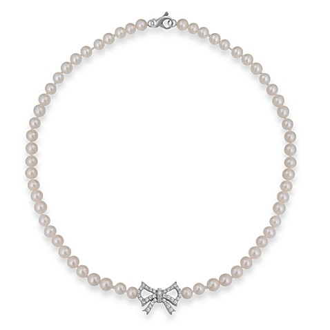 Badgley Mischka® Soft & Sophisticated Sterling Silver & Pearl Necklace