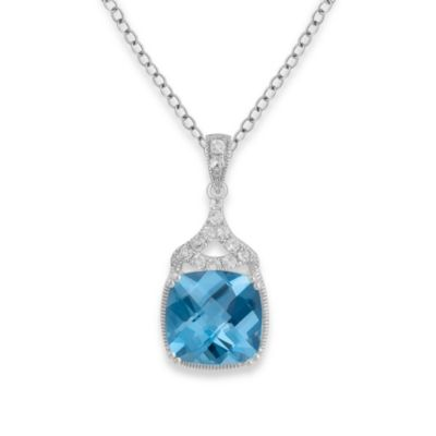 Badgley Mischka® Statement Chic Blue Topaz Pendant & Sterling Silver Chain