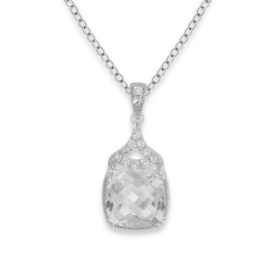 Badgley Mischka® Statement Chic White Quartz Pendant & Sterling Silver Chain