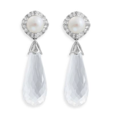 Badgley Mischka® Statement Chic Sterling Silver White Quartz & Pearl Earrings