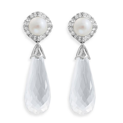 Badgley Mischka® Statement Chic Sterling Silver White Quartz & Pearl Earrings