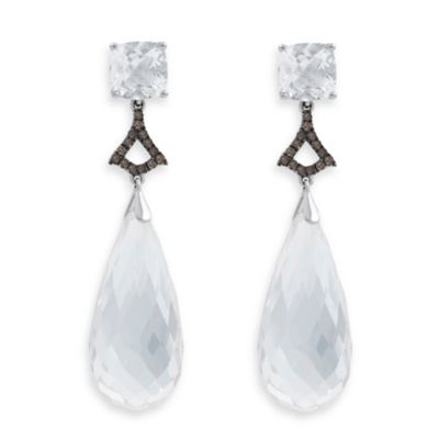 Badgley Mischka® Statement Chic Sterling Silver Topaz & White Quartz Earrings in White