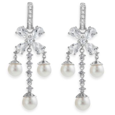 Badgley Mischka® Statement Chic White Topaz & Pearl Earrings