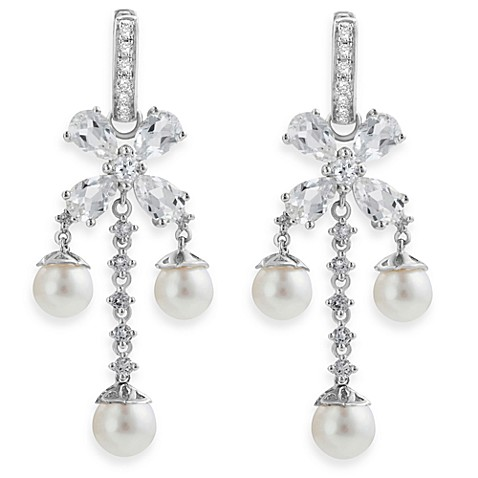 Badgley Mischka® Statement Chic Sterling Silver White Topaz & Pearl Earrings
