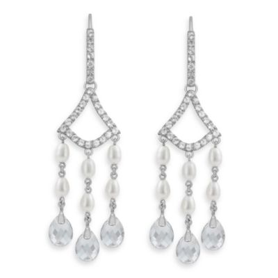 Badgley Mischka® Timeless Glamour Sterling Silver White Topaz & Pearl Earrings