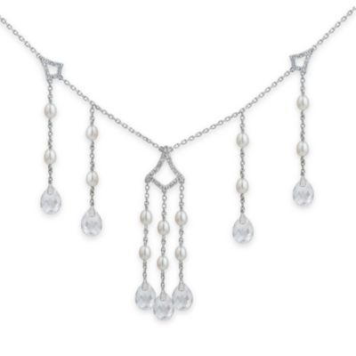Badgley Mischka® Timeless Glamour White Topaz & Pearl Necklace