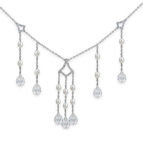 Badgley Mischka® Timeless Glamour Sterling Silver White Topaz & Pearl Necklace