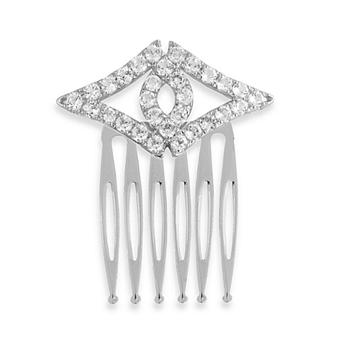 Badgley Mischka® Petal Perfect Sterling Silver & White Topaz Hair Comb