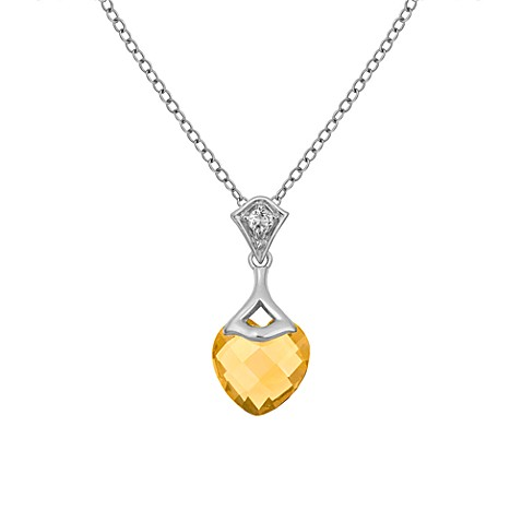 Badgley Mischka® Be-Loved Citrine Pendant & Sterling Silver Chain