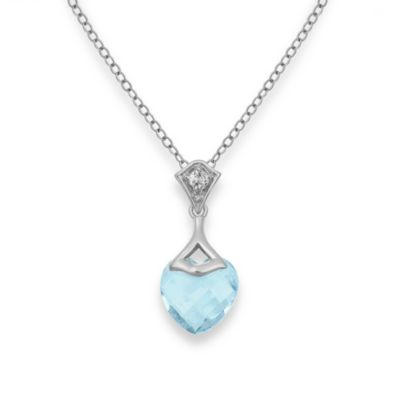Badgley Mischka® Be-Loved Sky Blue Topaz Pendant & Sterling Silver Chain