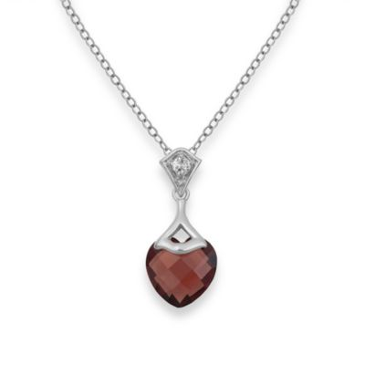 Badgley Mischka® Be-Loved Garnet Pendant & Sterling Silver Chain