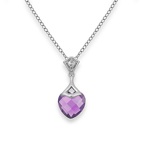Badgley Mischka® Be-Loved Amethyst Pendant & Sterling Silver Chain