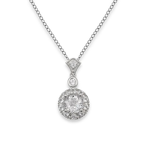 Badgley Mischka® The New Classics White Topaz Pendant & Sterling Silver Chain