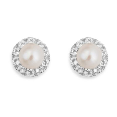 Badgley Mischka® The New Classics Pearl & White Topaz & Sterling Silver Stud Earrings