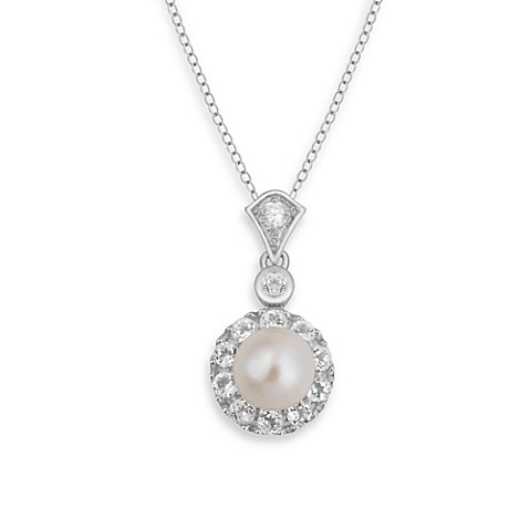 Badgley Mischka® The New Classics Pearl & White Topaz Pendant & Sterling Silver Chain