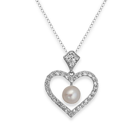 Badgley Mischka® Be-Loved Sterling Silver White Topaz & Pearl Pendant