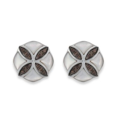 Badgley Mischka® Petal Perfect Sterling Silver Smokey Quartz & Mother of Pearl Stud Earrings