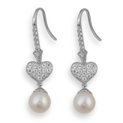 Badgley Mischka® Be-Loved Sterling Silver White Topaz & Pearl Earrings