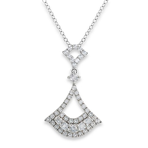 Badgley Mischka® Petal Perfect Sterling Silver & White Topaz Arabesque Pendant