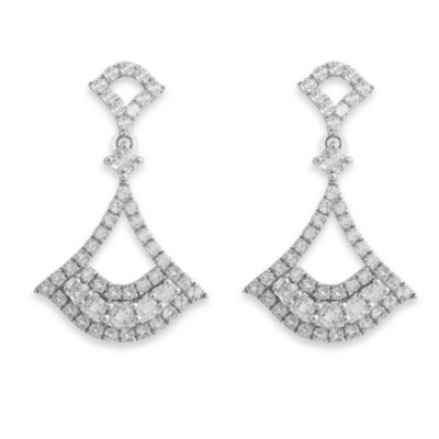 Badgley Mischka® Petal Perfect Sterling Silver & White Topaz Arabesque Earrings
