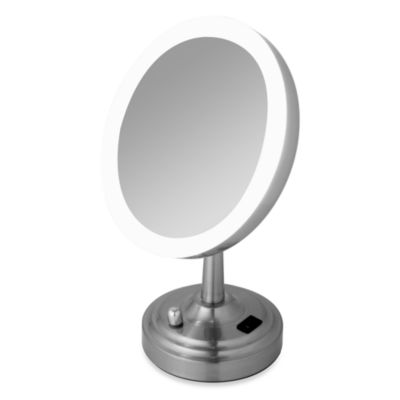 Daylight Lighted Brushed Nickel 10x Mirror