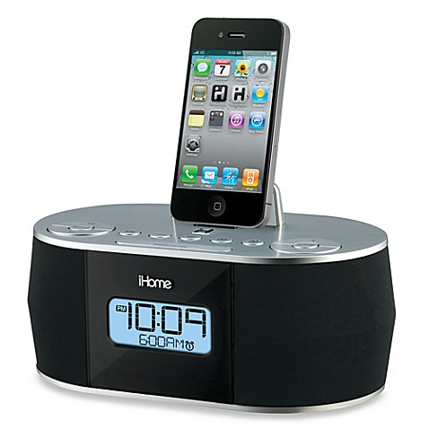 ihome dual alarm fm clock radio for ipad iphone and ipod bed bath beyond. Black Bedroom Furniture Sets. Home Design Ideas