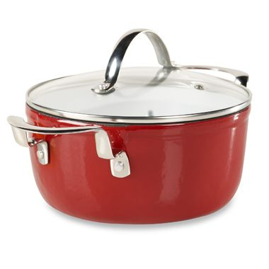 Philippe Richard® 3-Quart Red Cast Enamel Round Covered Casserole